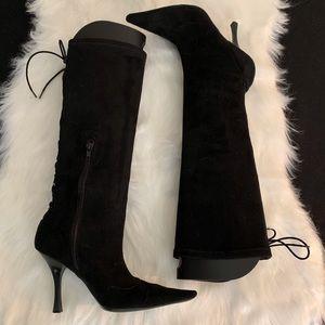 BCBGirls Black suede stretch boots Size 7